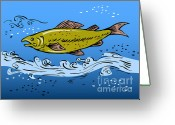 Trout Digital Art Greeting Cards - Trout Fish Swimming Underwater Greeting Card by Aloysius Patrimonio