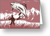 Jumping Digital Art Greeting Cards - Trout jumping fisherman Greeting Card by Aloysius Patrimonio