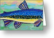 Anglers Greeting Cards - Trout Greeting Card by Krista Ouellette