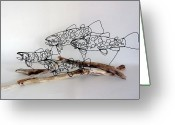 Fishing Sculpture Greeting Cards - Trout Stream Greeting Card by Bud Bullivant