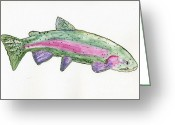 Tom Evans Greeting Cards - Trout Greeting Card by Tom Evans