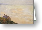 Sea Cottage Greeting Cards - Trouville at Low Tide Greeting Card by Claude Monet