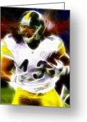 Troy Greeting Cards - Troy Polamalu Greeting Card by Paul Van Scott
