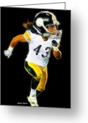 Pittsburgh Steelers Greeting Cards - Troy Polamalu Greeting Card by Stephen Younts