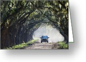 Dusty Road Greeting Cards - Truck Driving Down Dirt Road Greeting Card by Jeremy Woodhouse