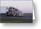 Interstate Greeting Cards - Truck on Texas Highway 287 at Sunrise Greeting Card by Jeremy Woodhouse