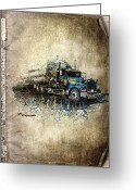 Transportation Mixed Media Greeting Cards - Truck Greeting Card by Svetlana Sewell