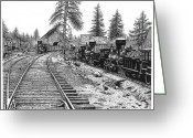 Pacific Drawings Greeting Cards - Truckee 1870 Greeting Card by Bruce Kay