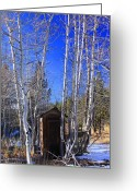 Iphonesia Greeting Cards - Truckee Outhouse Greeting Card by Mickey Hatt