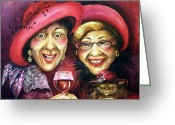 Elderly Painting Greeting Cards - Trudy and Grace Play Dressup Greeting Card by Shelly Wilkerson