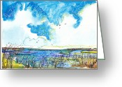 Pen Pastels Greeting Cards - True Blue Marsh Greeting Card by Michele Hollister - for Nancy Asbell