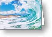 Surf Art Greeting Cards - True Blue Greeting Card by Paul Topp
