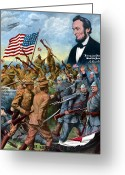 Abraham Lincoln Greeting Cards - True Sons Of Freedom Greeting Card by War Is Hell Store