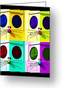 Mascots Digital Art Greeting Cards - TRULY NOLEN RAT in QUAD COLORS Greeting Card by Rob Hans