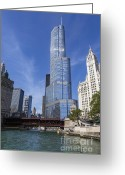 Chicago Skyline Greeting Cards - Trump Tower Chicago Greeting Card by Adam Romanowicz