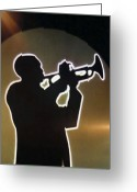 Trumpet Music Greeting Cards - Trumpet - Classic Jazz Music All Night Long Greeting Card by Christine Till