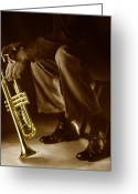 Trumpet Glass Greeting Cards - Trumpet 2 Greeting Card by Tony Cordoza