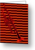 Horn Greeting Cards - Trumpet and red neon Greeting Card by Garry Gay
