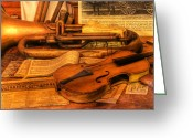 Rehearsal Greeting Cards - Trumpet and Stradivarius at Rest - Violin - nostalgia - vintage - music -instruments  Greeting Card by Lee Dos Santos