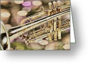 Reception Room Greeting Cards - Trumpet Greeting Card by Cheryl Young