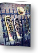 Fence Row Greeting Cards - Trumpet Greeting Card by Christian Rivière