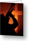 Trumpet Music Greeting Cards - Trumpet In Silhouette Before Cross Greeting Card by M K  Miller