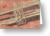 Cornet Greeting Cards - Trumpet Greeting Card by Ken Powers