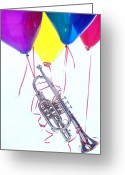 Horns Greeting Cards - Trumpet lifted by balloons Greeting Card by Garry Gay
