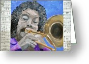 Player Mixed Media Greeting Cards - Trumpet Player Greeting Card by Michael Lee