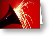 Horns Greeting Cards - Trumpet shooting sparks Greeting Card by Garry Gay