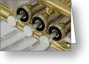Big Band Greeting Cards - Trumpet Valves Greeting Card by Frank Tschakert