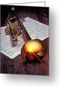 Instrumental Greeting Cards - Trumpet with sunset Greeting Card by Garry Gay