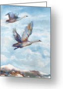 Swans Painting Greeting Cards - Trumpeter Swans Greeting Card by Peggy Wilson
