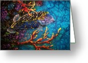 Fish Tapestries - Textiles Greeting Cards - Trunkfish - Male Greeting Card by Sue Duda