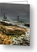 Shore Digital Art Greeting Cards - Trwyn Du Lighthouse Greeting Card by Adrian Evans