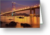 Ma Greeting Cards - Tsing Ma Bridge After Sundown Greeting Card by Photography by Claire Chao