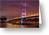 Ma Greeting Cards - Tsing Ma Bridge At Night Greeting Card by Leung Cho Pan