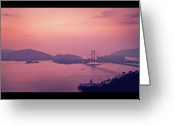 Hong Kong Greeting Cards - Tsing Ma Bridge In Hong Kong At Dusk Greeting Card by Yiu Yu Hoi