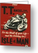 Motorcycle Racing Greeting Cards - TT Races 1961 Greeting Card by Nomad Art And  Design