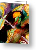 Talking Birds Greeting Cards - Tu Can Toucan Greeting Card by Lil Taylor