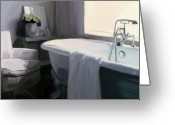 Grey Painting Greeting Cards - Tub in Grey Greeting Card by Patti Siehien