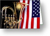 Star Greeting Cards - Tuba and American flag Greeting Card by Garry Gay