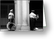Tuba Greeting Cards - Tuba Player and Drummer Greeting Card by Todd Fox