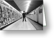 One Point Perspective Greeting Cards - Tube Train Murals Greeting Card by Evening Standard