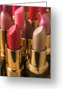Make-up Photo Greeting Cards - Tubes Of Lipstick Greeting Card by Garry Gay