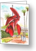 Los Angeles Painting Greeting Cards - Tubular-sculpture-in-LACMA-CA Greeting Card by Carlos G Groppa