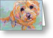 Apricot Painting Greeting Cards - Tucker Greeting Card by Kimberly Santini