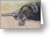 Black Lab Greeting Cards - Tuckered Out Greeting Card by Kimberly Santini