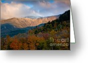 Beautiful Clouds Greeting Cards - Tuckermans Ravine in Autumn Greeting Card by Susan Cole Kelly
