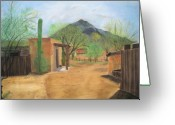 Adobe Pastels Greeting Cards - Tucson Ranch Greeting Card by Maris Sherwood